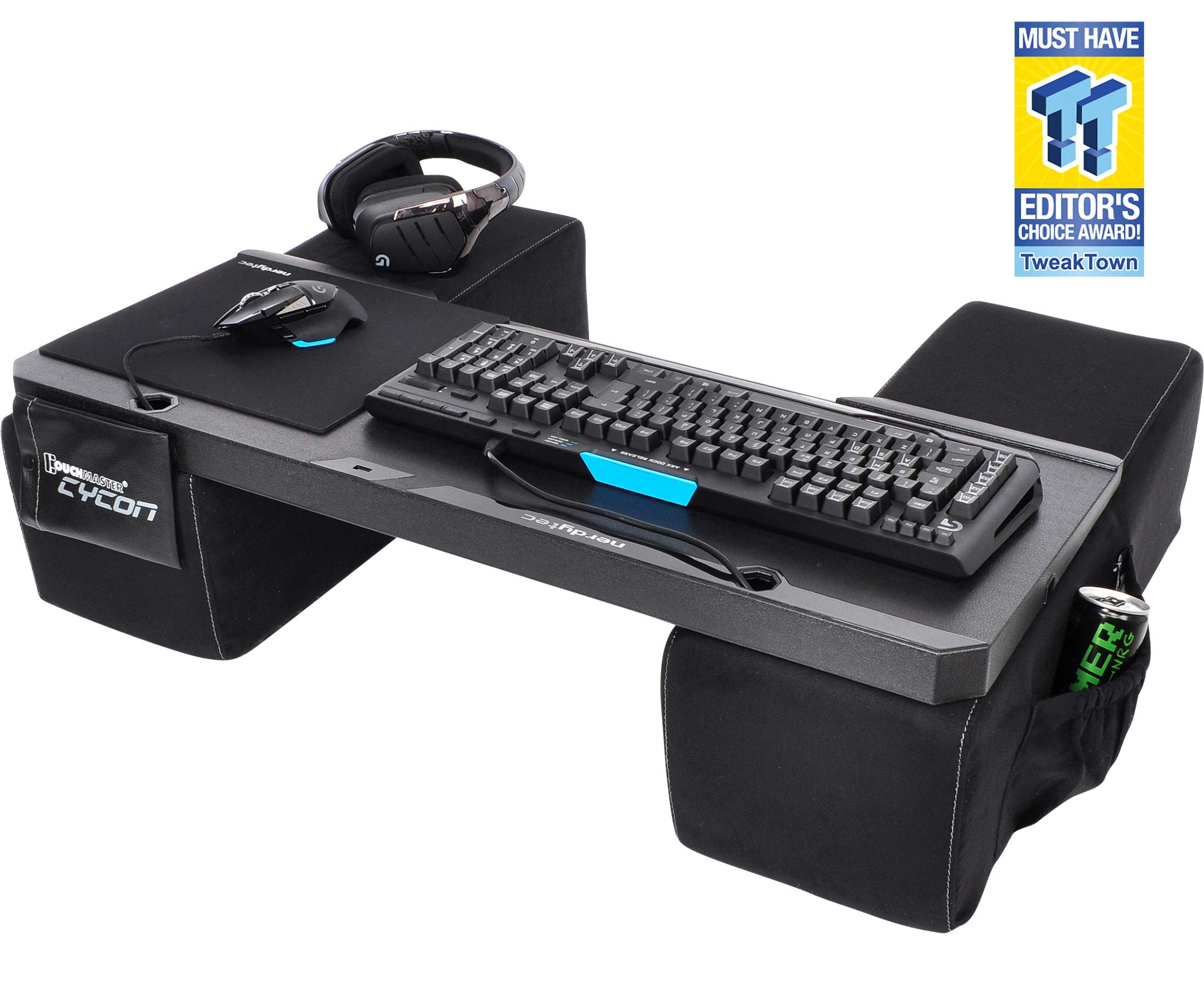 Couchmaster CYCON - Couch Gaming Lapboard/Lapdesk for Keyboard/Mouse (PC / PS4 / XboxOne) incl. Ergonomic Cushions, Mousepad, 5m Cable (Black Edition) by Couchmaster
