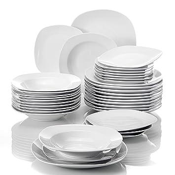 MALACASA, Série Elisa, 36pcs Services de Table Porcelaine, 12 Assiettes à  Dessert, 5ec63e086f20