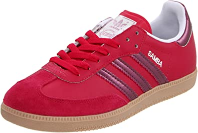 adidas Originals Women's Samba Fashion Sneaker,Sharp Red/Pink Metallic/Zero  Metallic,