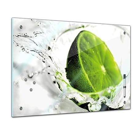 Memoboard - 60 x 40 cm, Essen und Trinken - Limette - Memotafel Pinnwand - Frucht - Früchte - Obst - Obstbild - Eis - Wasser