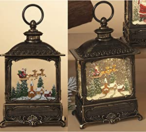 10-Inch Lighted Decorative Christmas Snow Globe Water Lantern with Santa in Sleigh Figurine – Vintage Holiday Decoration – Light Up Hanging or Tabletop Home Decor
