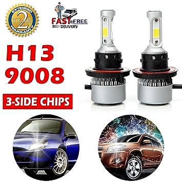 H13 9008 faros delanteros de coche bombillas LED alto bajo doble haz 12000LM 6500 K Blanco ...