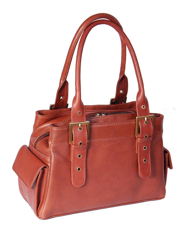 Ladies Real Leather Shoulder Handbag Zip Opening Classic Style HOL48 Brown
