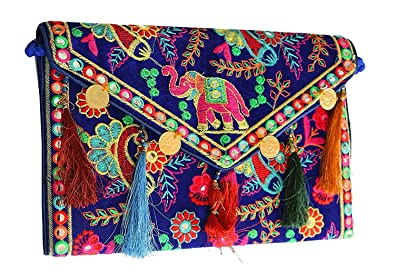 c37eed498d0f Hippie Handmade handbags for women Cotton Elephant Embroidery coin work  Ethnic Vintage bohemian Tribal Banjara Clutch