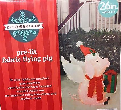Amazon.com: Diciembre Hogar tela preiluminada volador cerdo ...