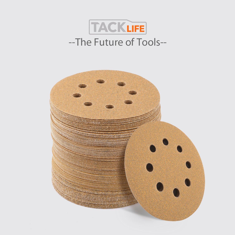 Disque de Pon/çage 100pcs Tacklife Disques Abrasifs Velcro 40//80//120//150//220 Grain Taille de 125mm Id/éal pour Poncer//Polir//D/érouiller ASD04C