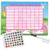 Re-usable Reward Chart (including FREE Star Stickers and Pen) - Princess Design