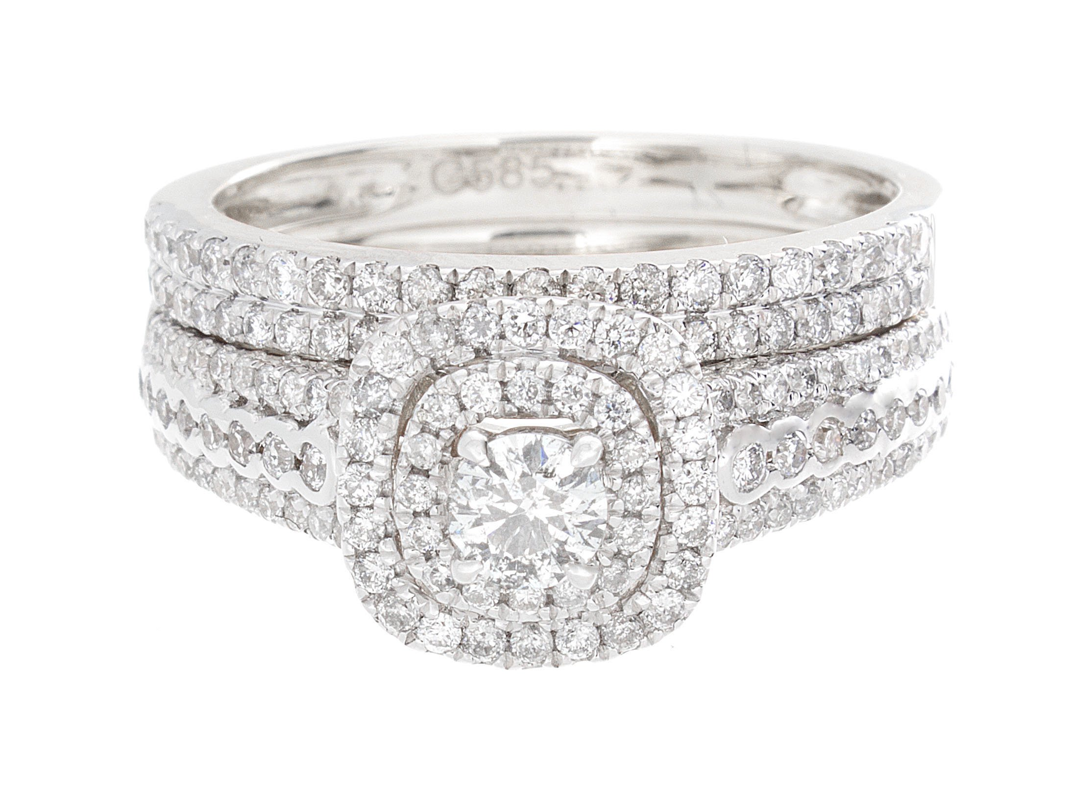 1.00ctw Round Diamond (H-I color, i1-i2 Clarity) in 14K Gold Bridal Ring