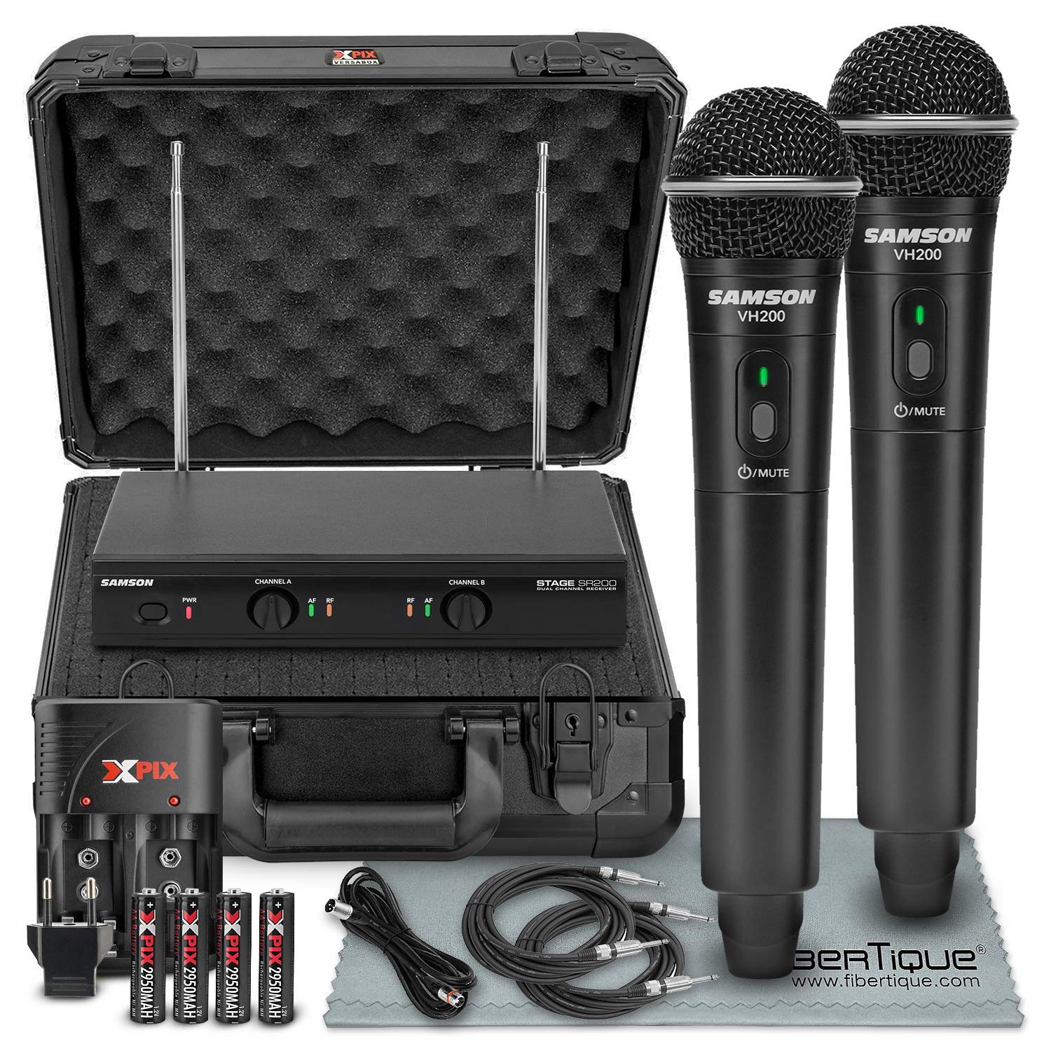 Samson Stage 200 - Dual-Channel Handheld VHF Wireless System (Channel D) W/ Deluxe Accessory Bundle and Hard Equipment Case + 2 X ??'' Cables + XLR Cable + FiberTique Cleaning Cloth by Samson Technologies