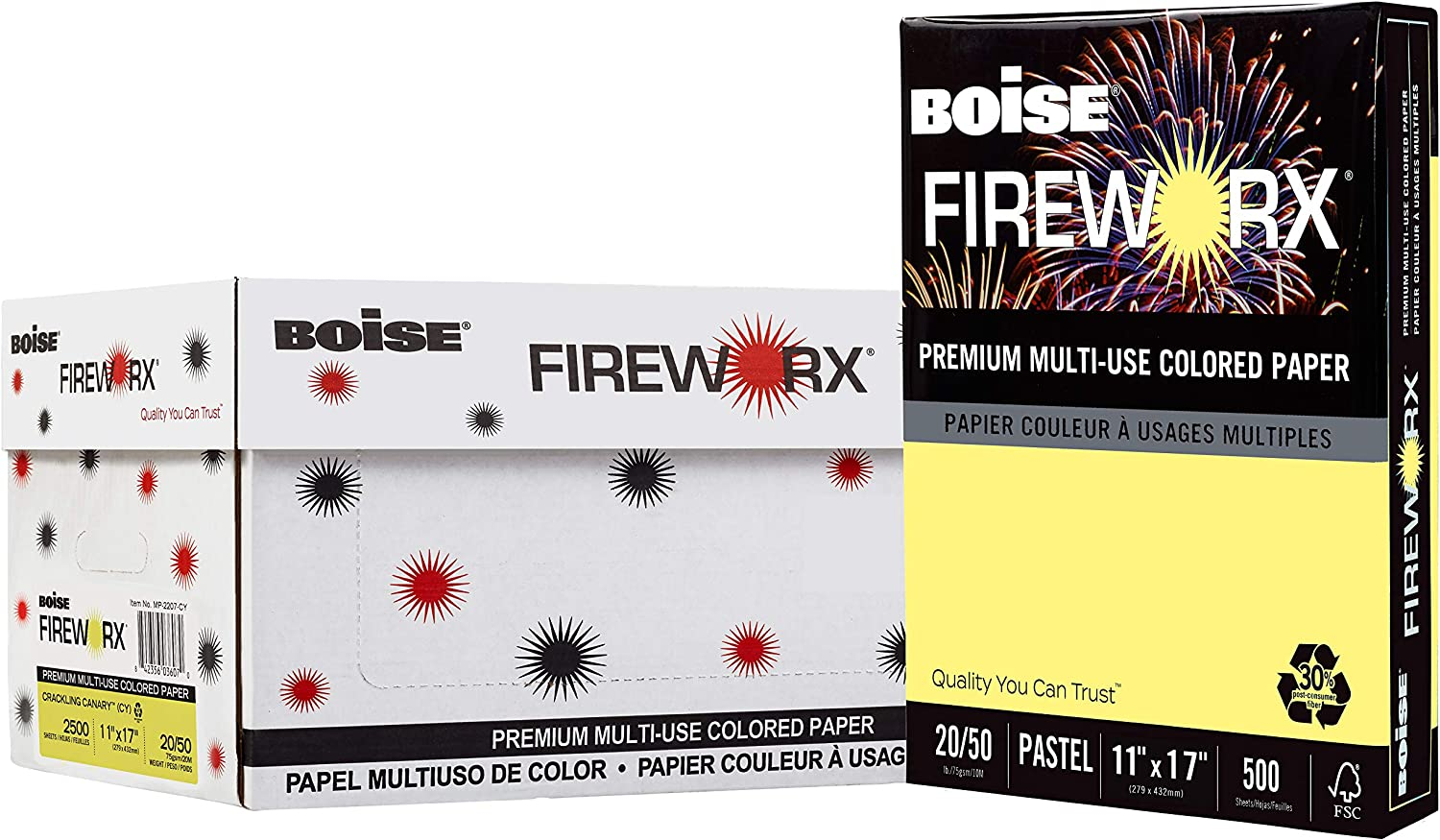 Boise FIREWORX Colored Paper 20lb 11 x 17 Crackling Canary 500 Sheets//Ream
