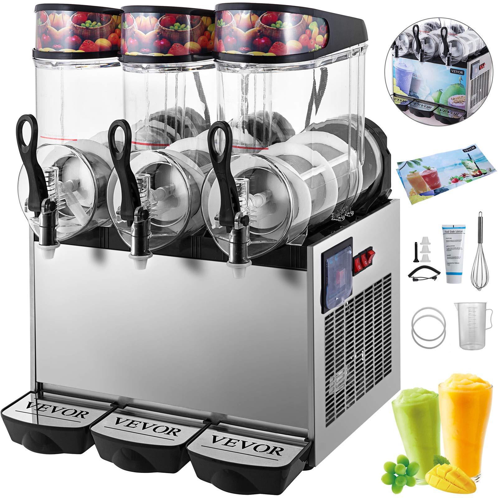 VEVOR 110V Slushy Machine 12L*3 Triple-Bowl Slush Frozen Drink Machine 900W Frozen Drink Maker Ice Slushies for Supermarkets Cafes Restaurants Snack Bars Commercial Use