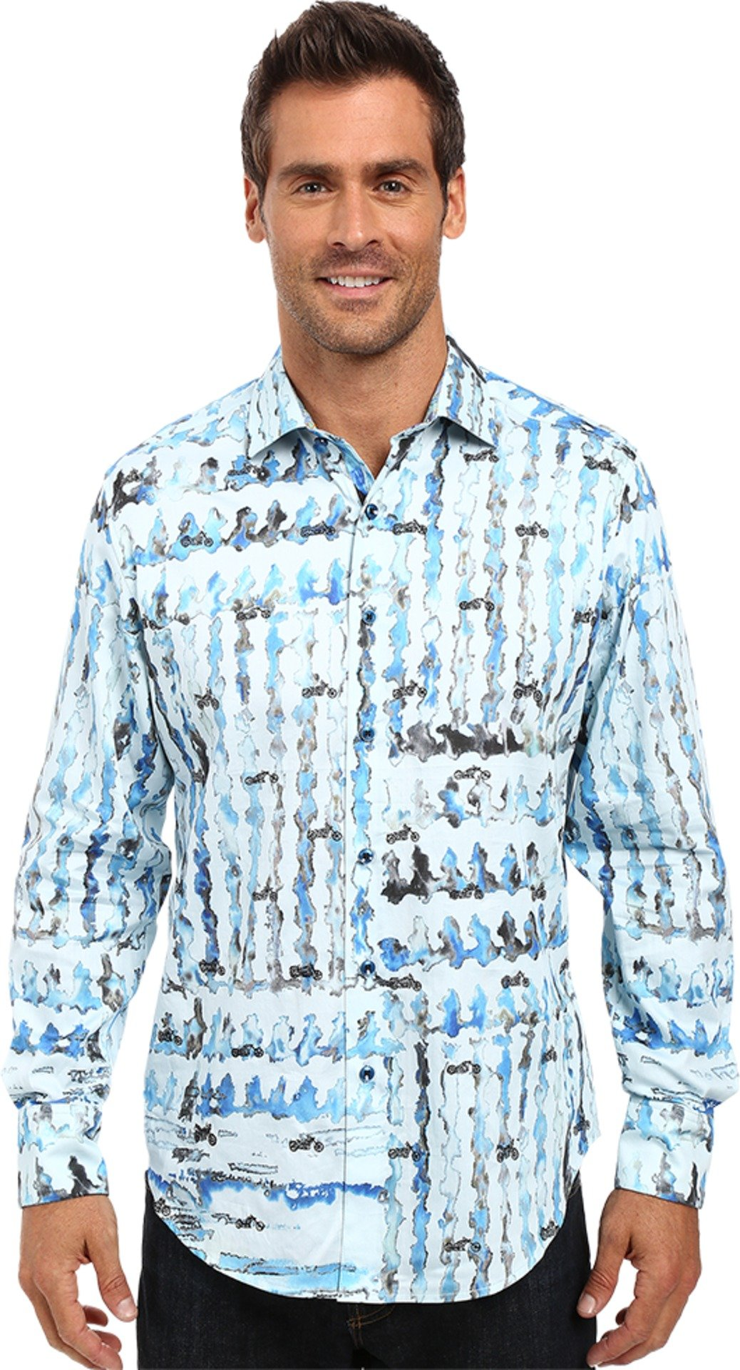 Robert Graham Men's Shallow Ponds Long Sleeve Woven Shirt Seaglass Button-up Shirt SM by Robert Graham