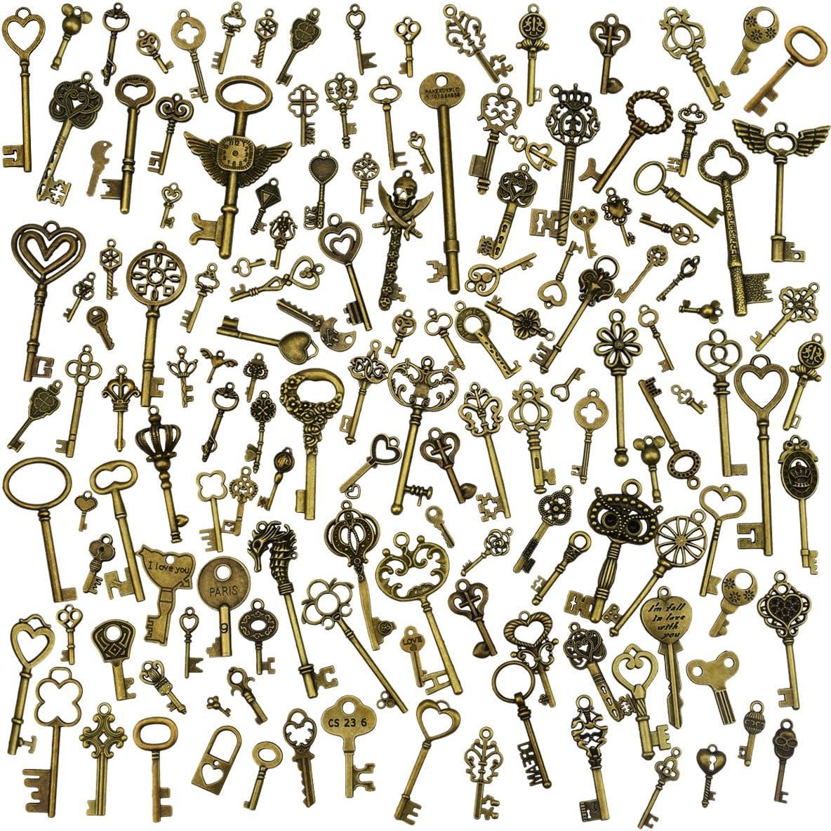 130 piezas Llaves esqueléticas de la vendimia de bronce antiguo colgantes del collar de DIY que hace fuentes para la decoración de la boda Favor o fiestas
