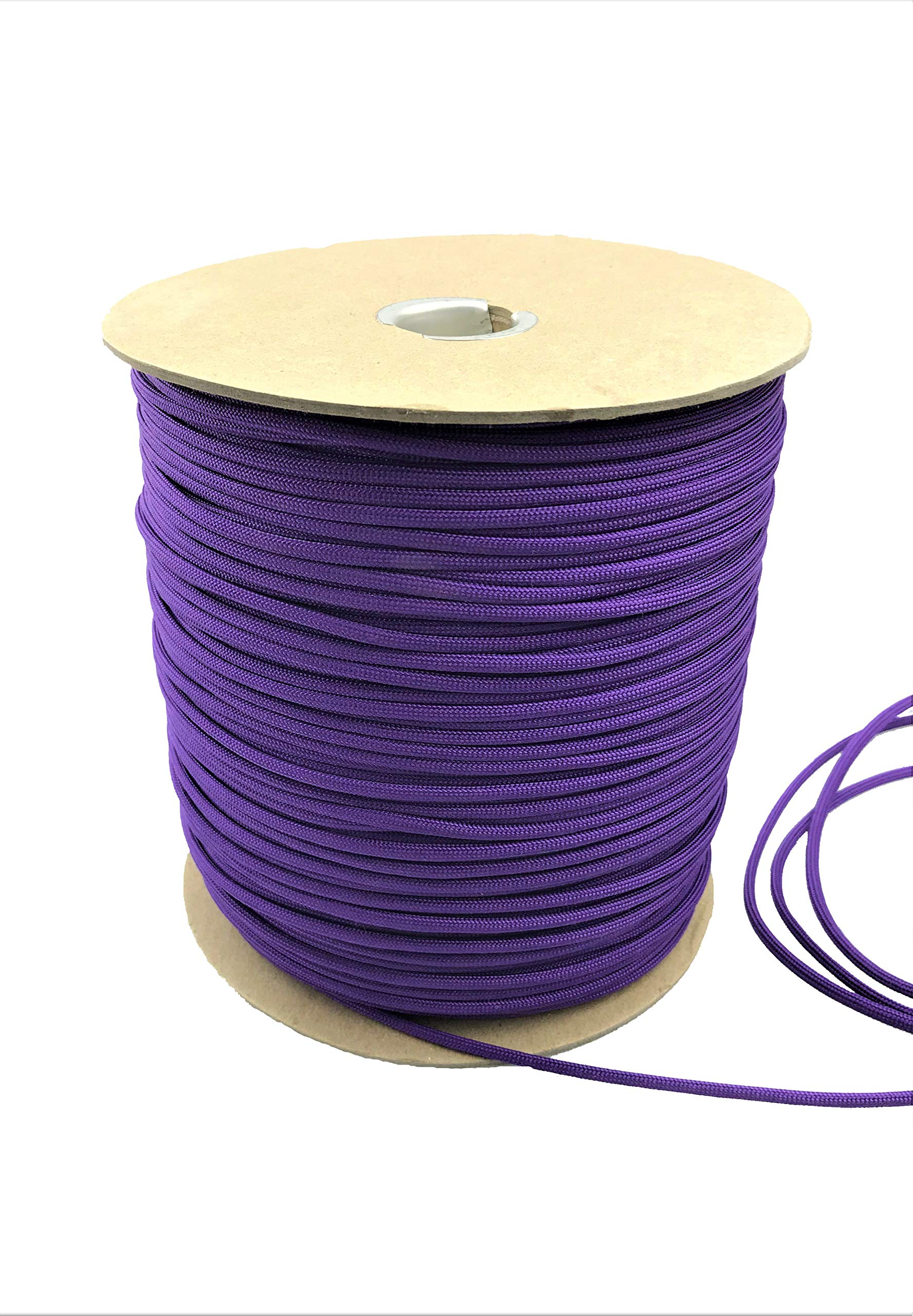 Paracord 550 Type III 7 Strand Multi-Purpose Parachute Cord in 1000 and 100 Foot Spools. Used for Camping, Hiking, Boating, Survival, and Crafting. 100% Nylon-Made in the USA (Purple, 1000)