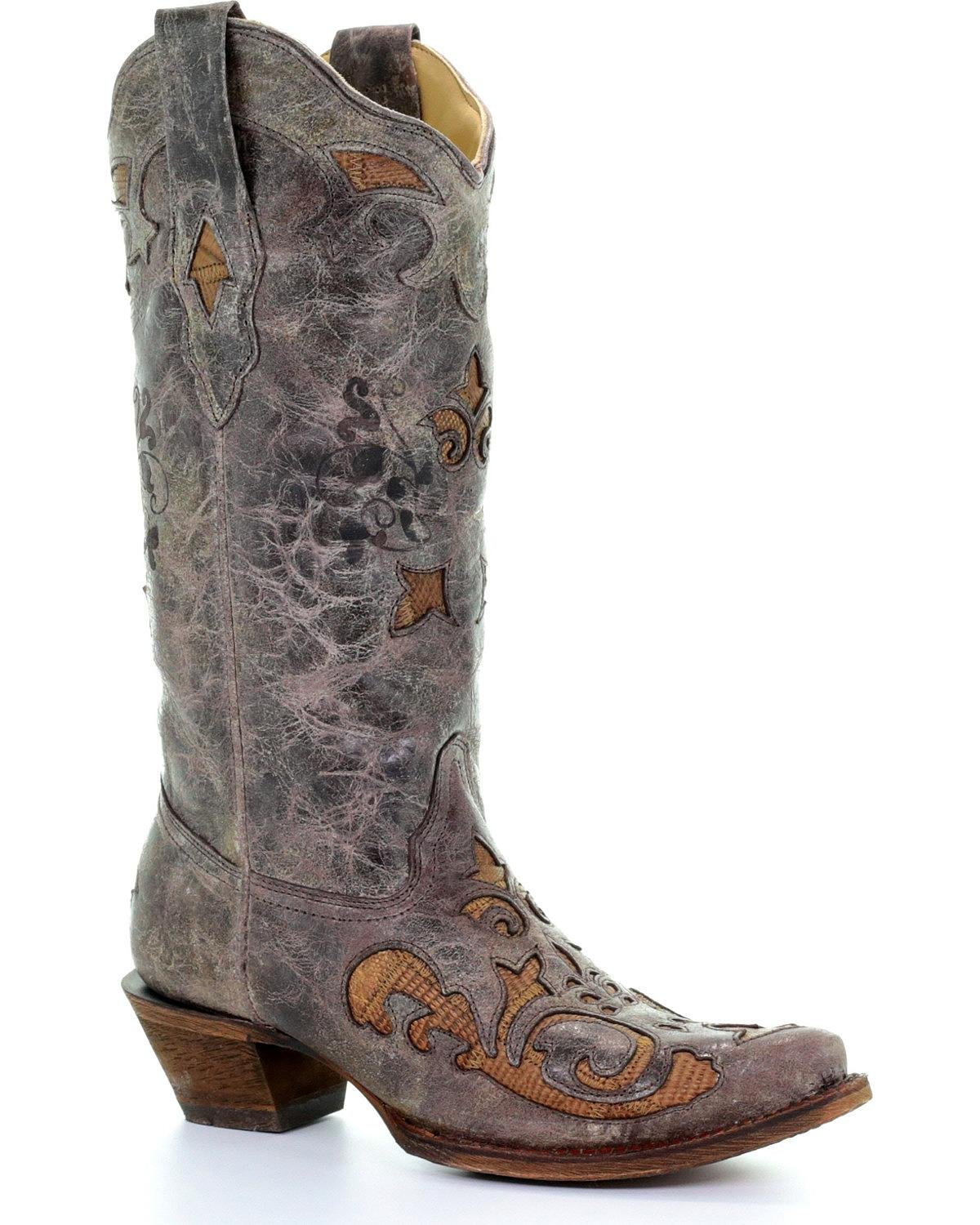 Corral Women's Vintage Antique Saddle Lizard Inlay Cowgirl Boot Snip Toe Brown 8 M