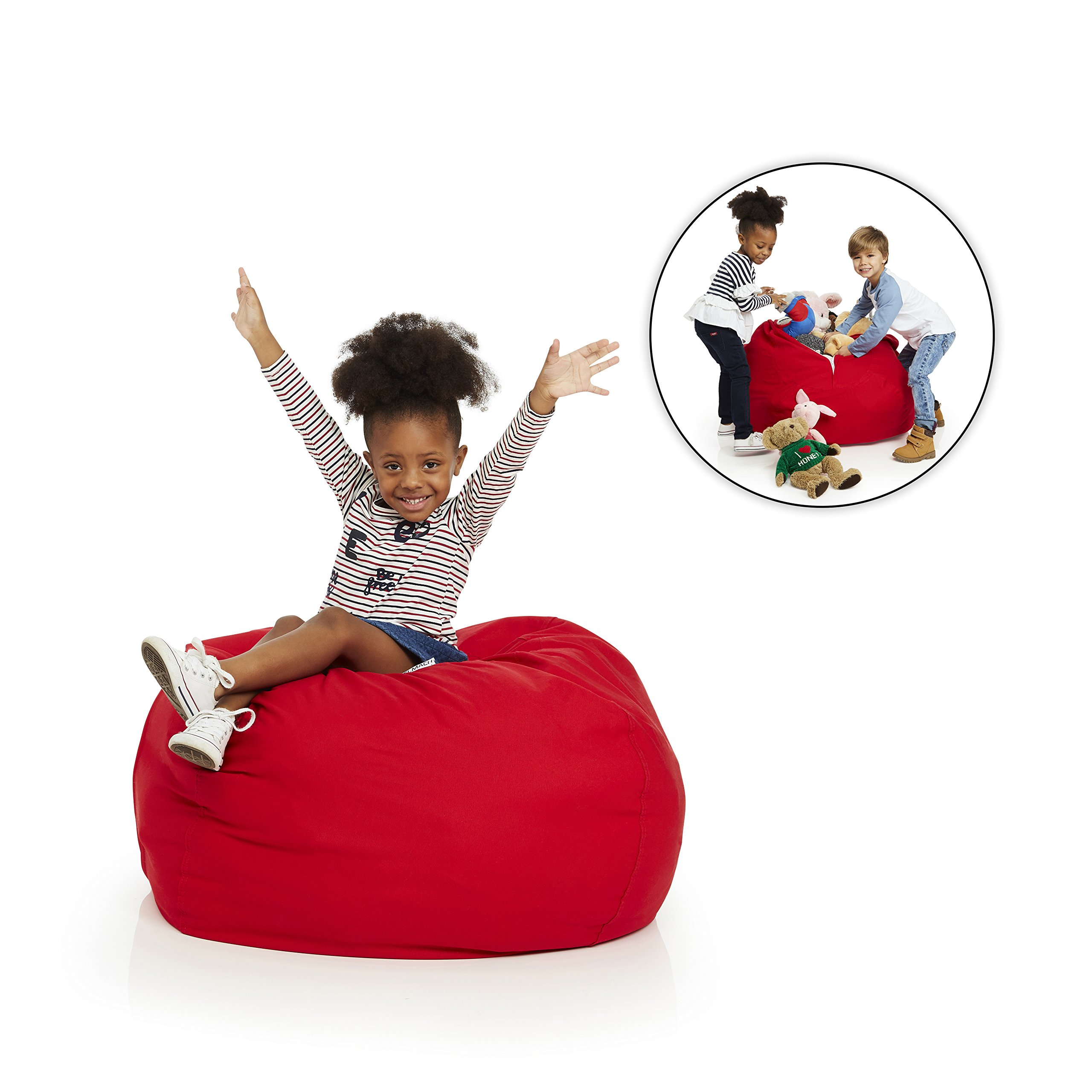 Delmach Stuffed Animal Bean Bag | 100% COTTON CANVAS (Red) | PREMIUM QUALITY GUARANTEED | Storage Bean Bag Cover | Cool Kids Chair | For Room Organization | Toy Holder | EXTRA LARGE 38'' by Delmach