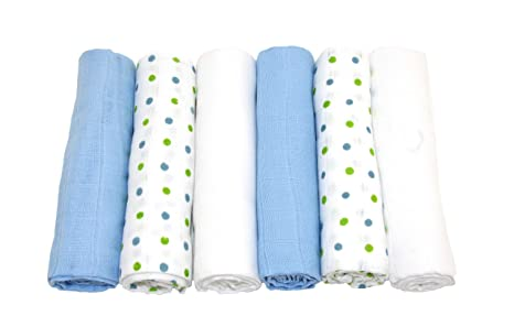 Pa/ñuelos cuadrados de muselina Muslinz 12 unidades color azul
