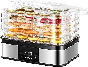 Dehydrator, Digital 48h Timer & Temperature Control, Aicook Food Dehydrator for Fruit, Meat Dog Treats, Beef Jerky, Herbs, 5 BPA-free Trays, ETL Listed & Recipe