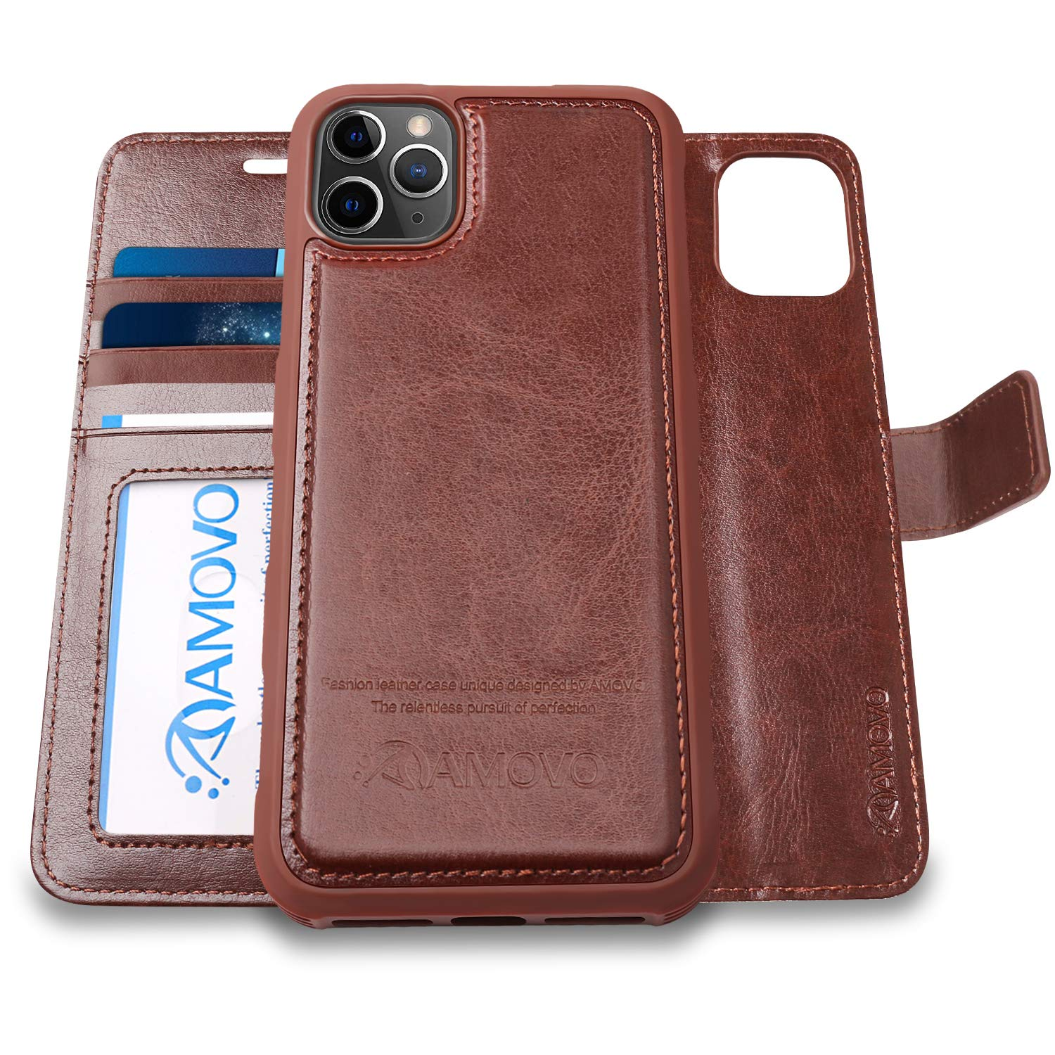 AMOVO iPhone 11 Pro Max Wallet Case [2 in 1 Detachable] Vegan Leather Case  for iPhone 11 Pro Max (6.5\u0027\u0027) [Wristlet] [Kickstand] iPhone 11 Pro Max