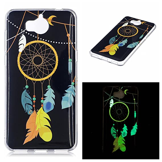 HuaWei Y5 2017 Case, Luminous Noctilucent Glow in the Dark Case Matching  Design Protective Phone Back Cover TPU Shell Case for HuaWei Y5 2017  (Feather