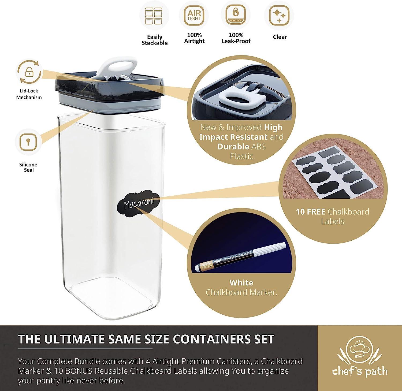 contenitori da cucina e dispensa Set di contenitori ermetici per alimenti 4 pezzi contenitori in plastica trasparente con coperchi migliorati da 3,2 l tutte le stesse dimensioni senza BPA