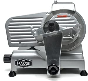 KWS Premium MS-6SS 200w Electric Meat Slicer 6-Inch Stainless Steel Blade, Frozen Meat/ Deli Meat/ Cheese/ Food Slicer Low Noises Commercial and Home Use
