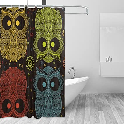 ALAZA Owl Illustration Red Yellow Blue Gold Shower Curtain Polyester Waterproof Mildew Resistant Antibacterial For Bathroom