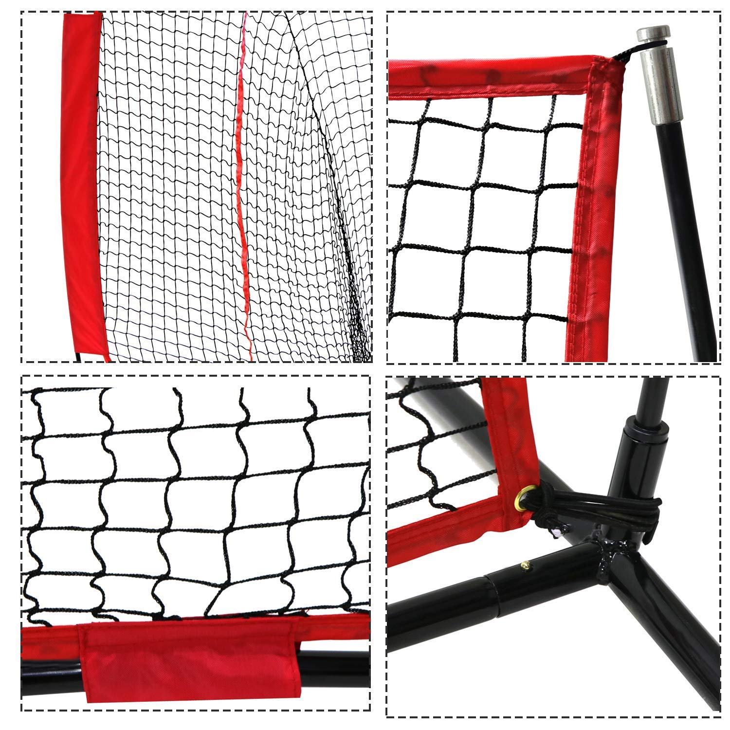 SUPER DEAL 7 7 Portable Baseball Softball Net w Carrying Bag, Metal Bow Frame Rubber Feet, for Training Hitting Batting Catching Practice