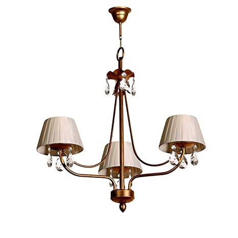 Lámpara de techo de 3 luces acabado oro viejo con pantallas ...