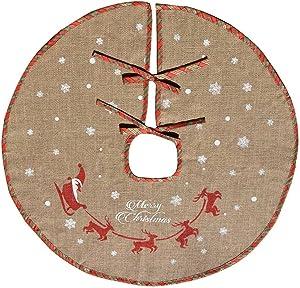 Amajoy Merry Christmas Tree Skirt White Snowflake Burlap Tree Skirt for Xmas Decor Festive Holiday Decoration, 30 Inch in Diameter