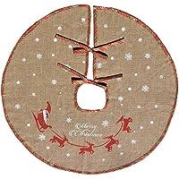 AmaJOY Merry Christmas Tree Skirt White Snowflake Burlap