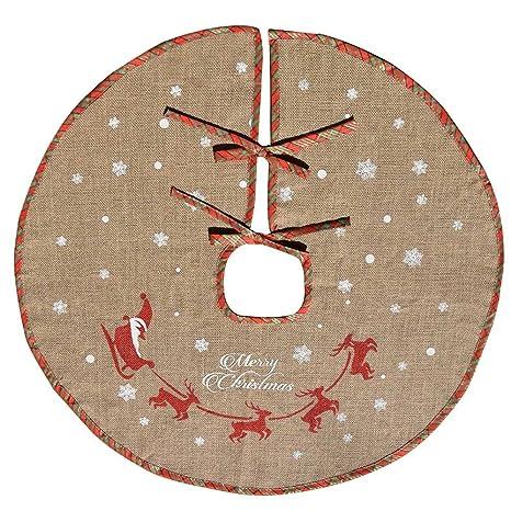 AmaJOY Merry Christmas Tree Skirt White Snowflake Burlap Tree ...
