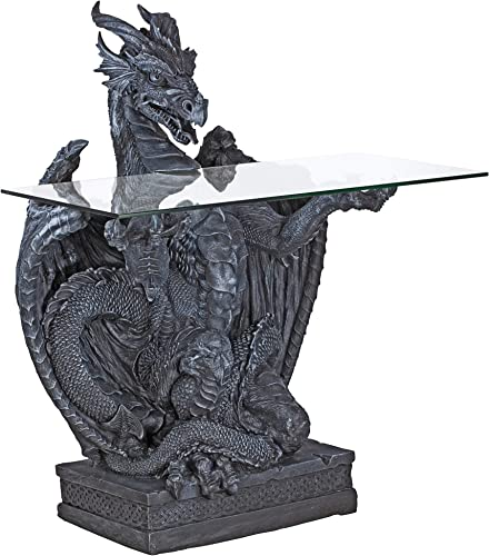 Design Toscano The Subservient Dragon Glass-Topped Sculptural Table
