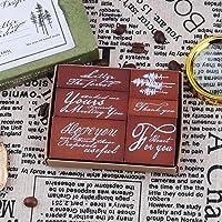Vintage Wooden Rubber Stamp Set, NogaMoga 6pcs Plant and Wordart Rubber Stamps, Decorative Wood Stamps for DIY Craft…
