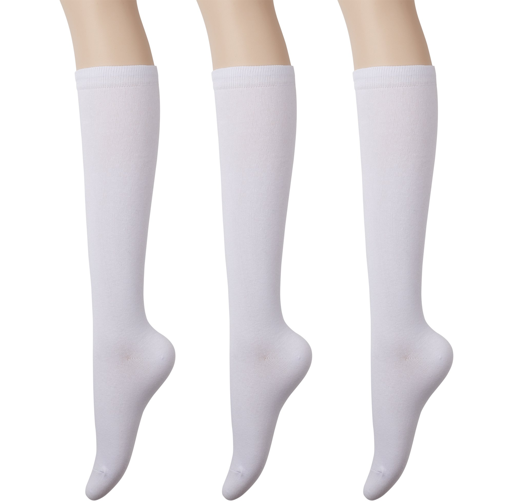 KONY Womens Cotton Knee High Socks - Casual Solid & Triple Stripe Colors Fashion Socks 3 Pairs (Womens Shoe Size 5-10) (Solid White - 3 Pairs)