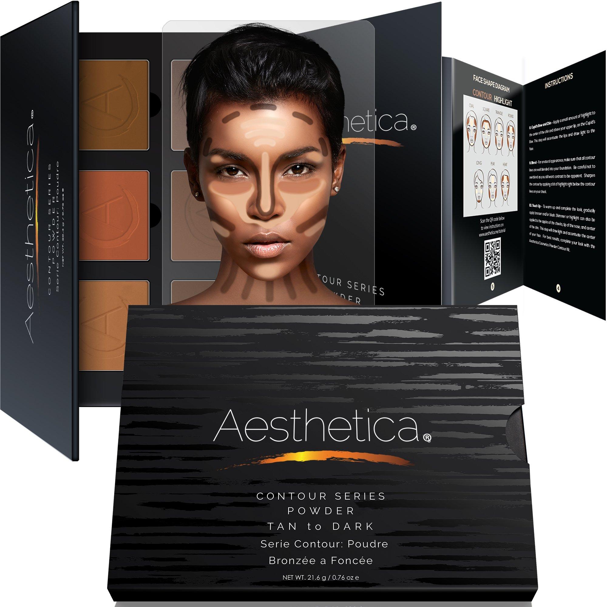 Aesthetica Cosmetics Contour Kit - Powder Contour, Highlighter & Bronzer - Tan to Deep Skin Tones