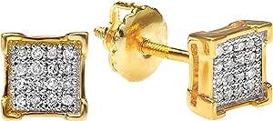 Pendientes de tuerca para hombre de plata de ley chapada en oro amarillo de 18 quilates con diamante redondo de 0,05 quilates