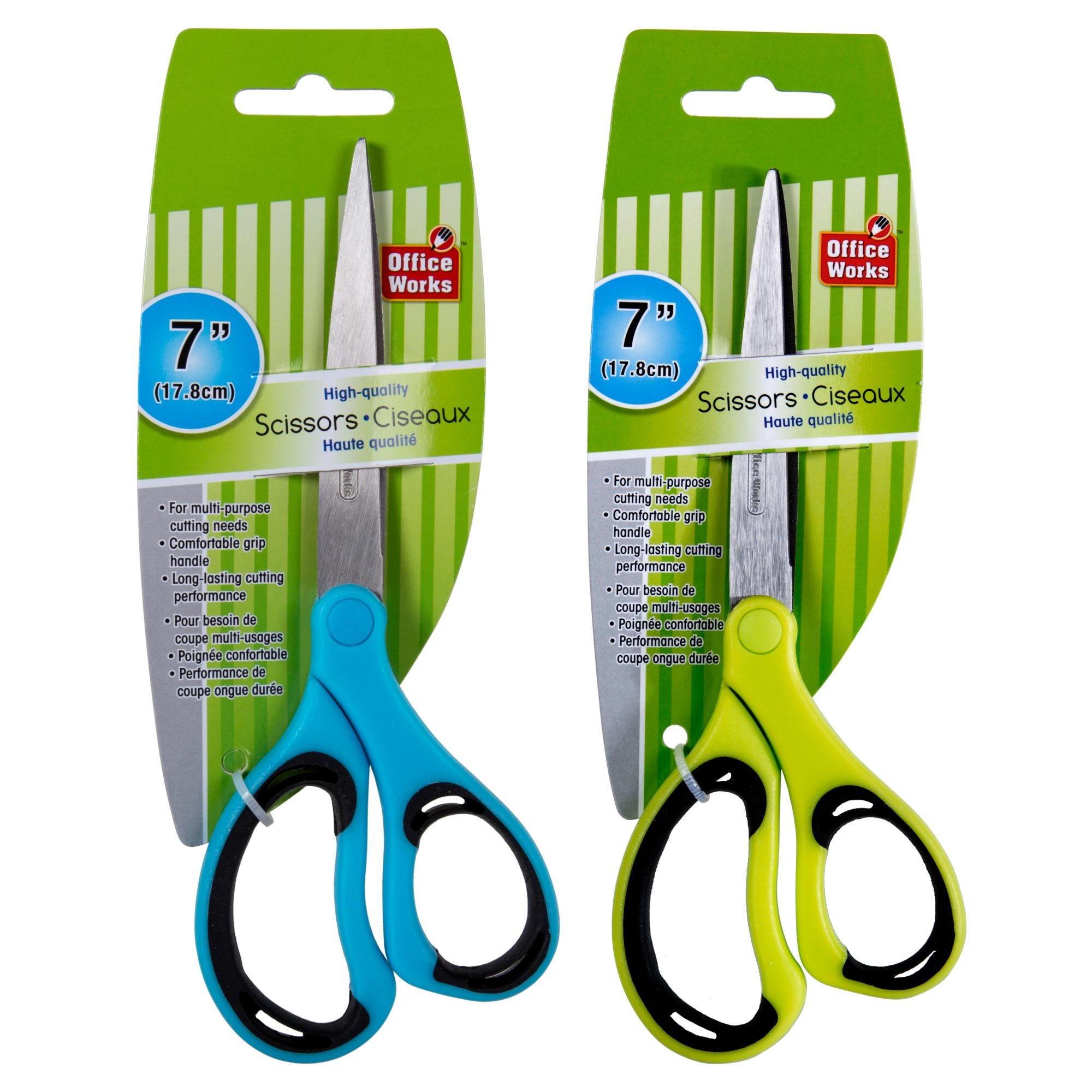 Office Works, Premium Quality Scissors, 7 inches, Blue, Green, 12 Pieces by OfficeWorks (Image #2)