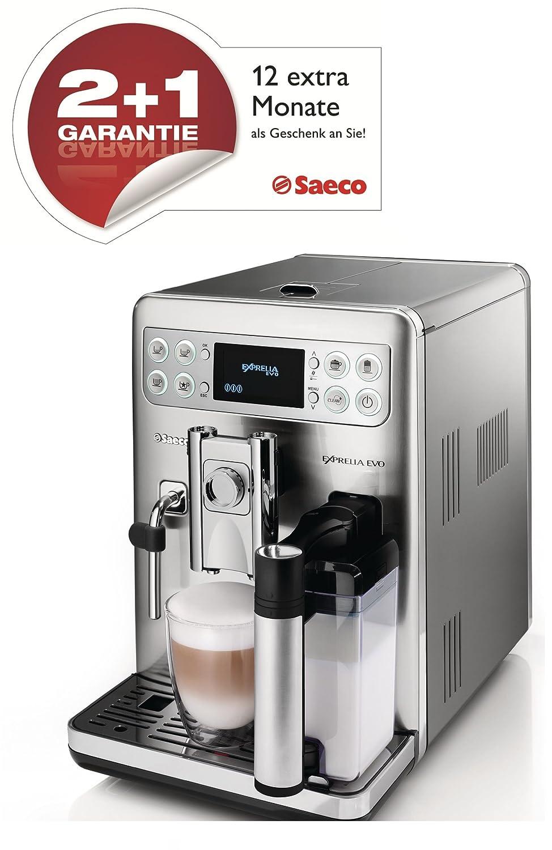 Saeco HD8857/01 Exprelia Evo - Cafetera automática (acero inoxidable, 1,6 l, 15 bares, 1400 W, contenedor de leche integrado)