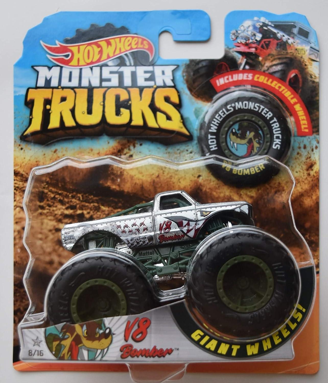 Amazon Com Hot Wheels Monster Trucks Silver V8 Bomber 8 16 Giant Wheels Toys Games