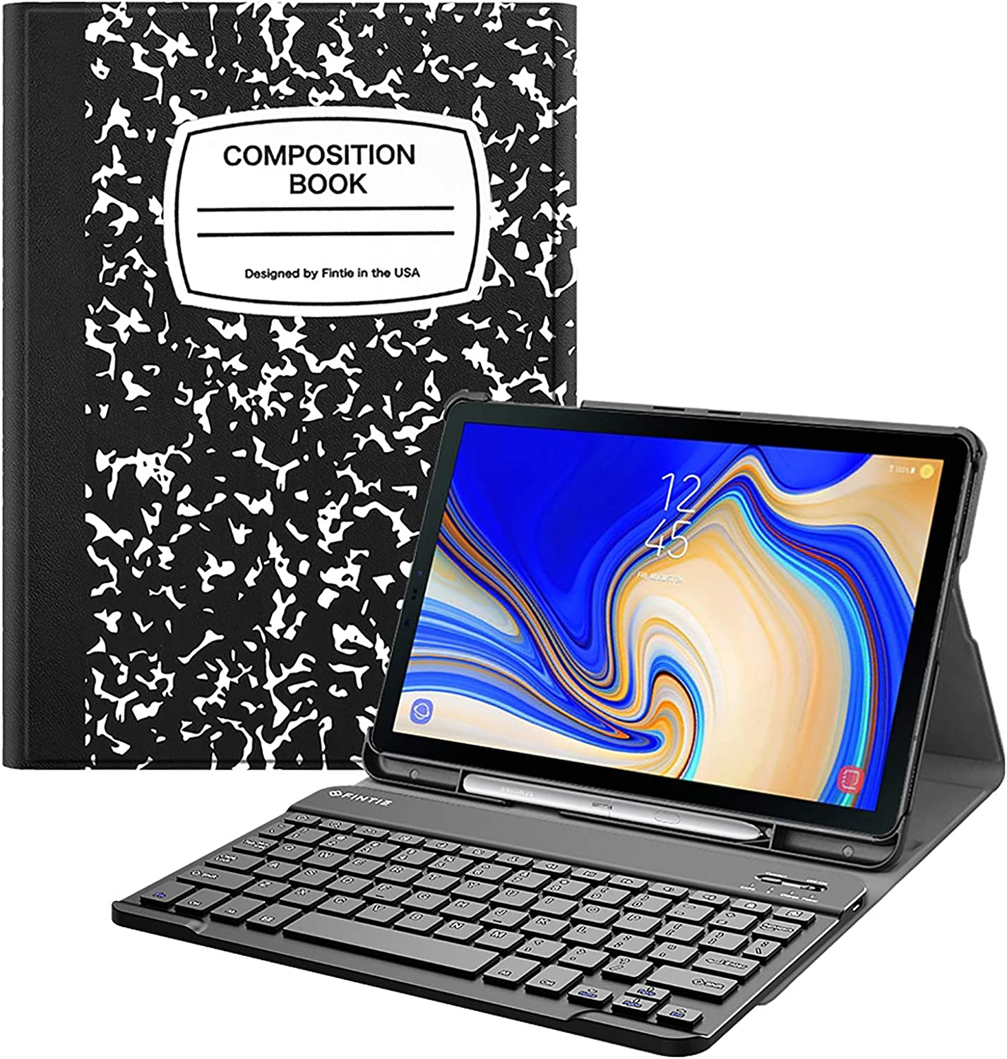 Fintie Keyboard Case for Samsung Galaxy Tab S4 10.5 2018 Model SM-T830/T835/T837, Slim Shell Lightweight Stand Cover with Detachable Wireless Bluetooth Keyboard, Composition Book