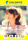 Colorite Self Adhesive Inkjet Photo Paper 135 GSM A4 20 Sheet