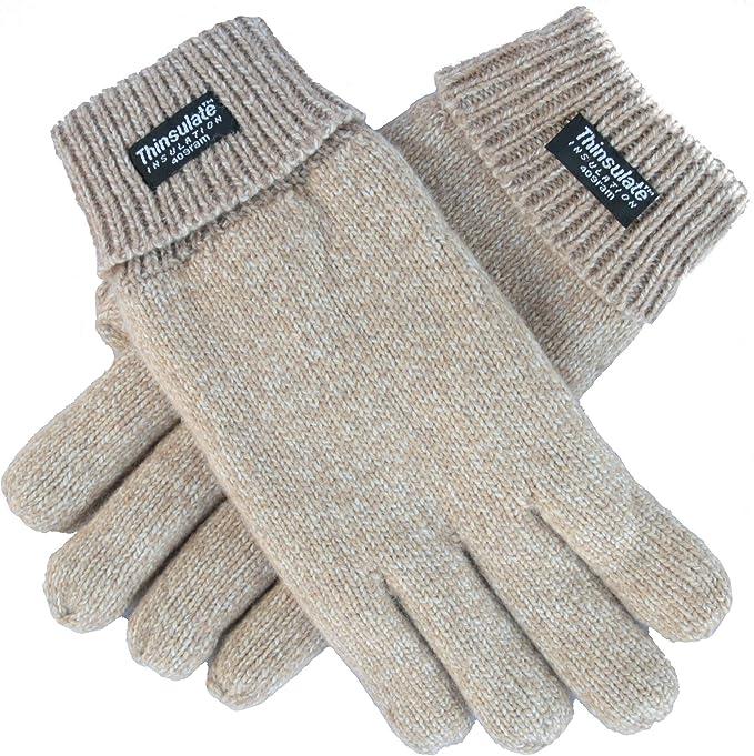 Strickmaterial aus 100/% Wolle oder 100/% Baumwolle je nach Farbe EEM Damen Strick Handschuhe FREYA mit Thinsulate Thermofutter aus Polyester und Zopfmuster