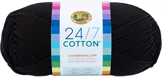 Soft Cotton Yarn 1100g Great for Machine Knitting Black 24//3 2ply yarn