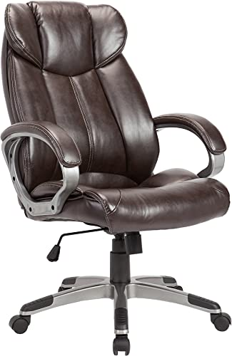 Christies Home Living Leather Comfortable Adjustable Chairs, Office Chairs, Brown