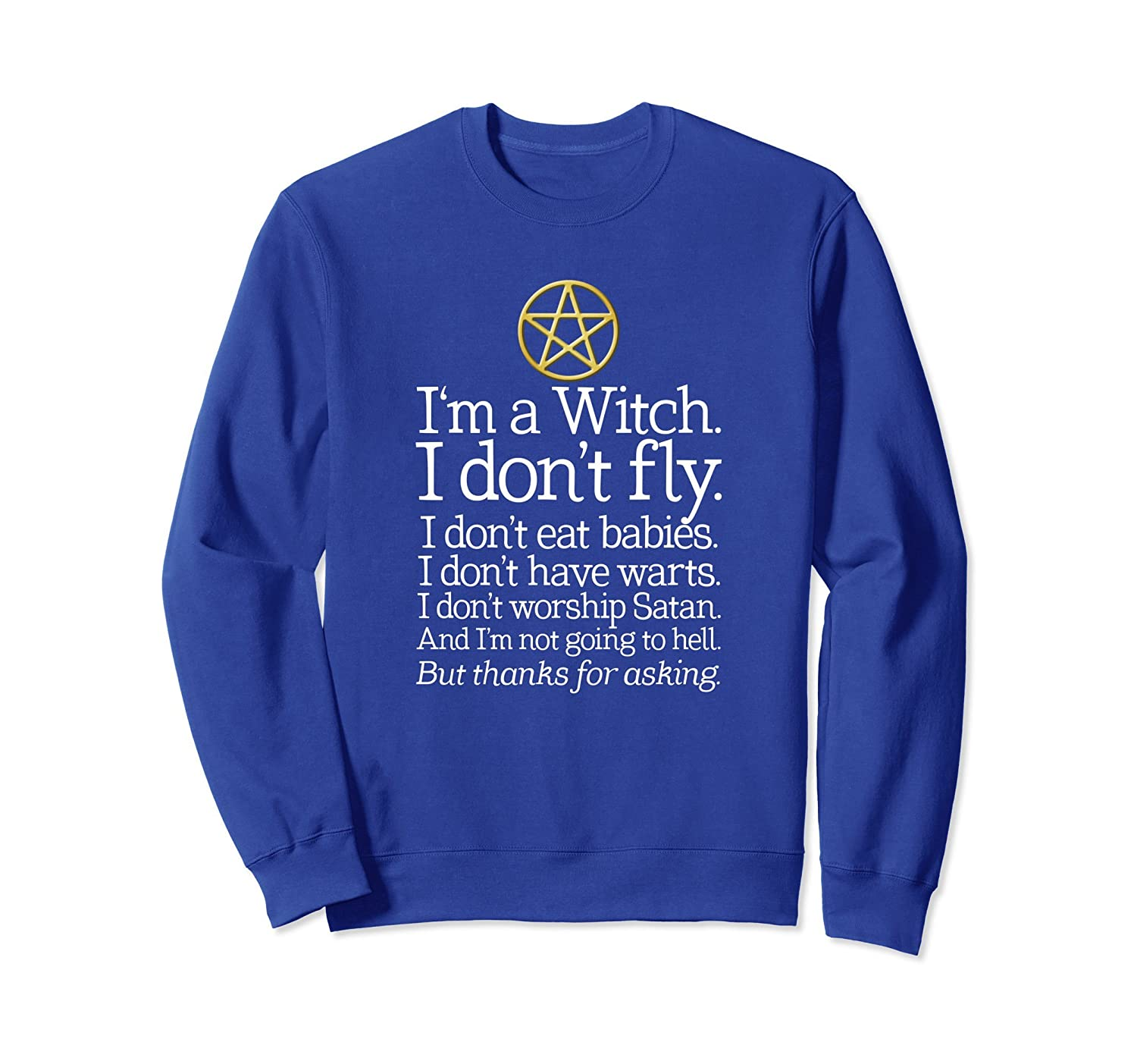 I'm A Witch I Don't Fly Sweatshirt Wicca Wiccan Pagan Gift-mt