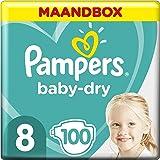 Pampers Baby-Dry Maat 8 (17kg+), 100 Luiers, Tot 12 Uur Bescherming Rondom Tegen Lekken, Maandbox