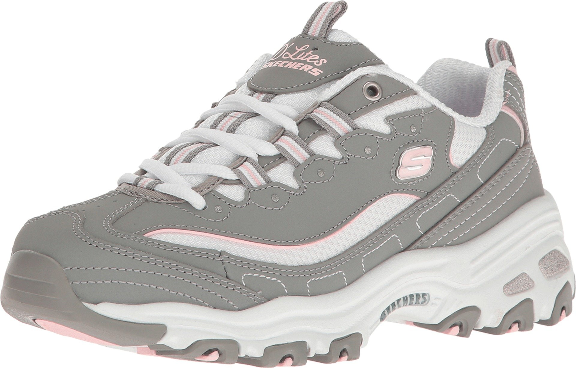 Skechers D'Lites Biggest Fan Womens Sneakers Gray/White 12