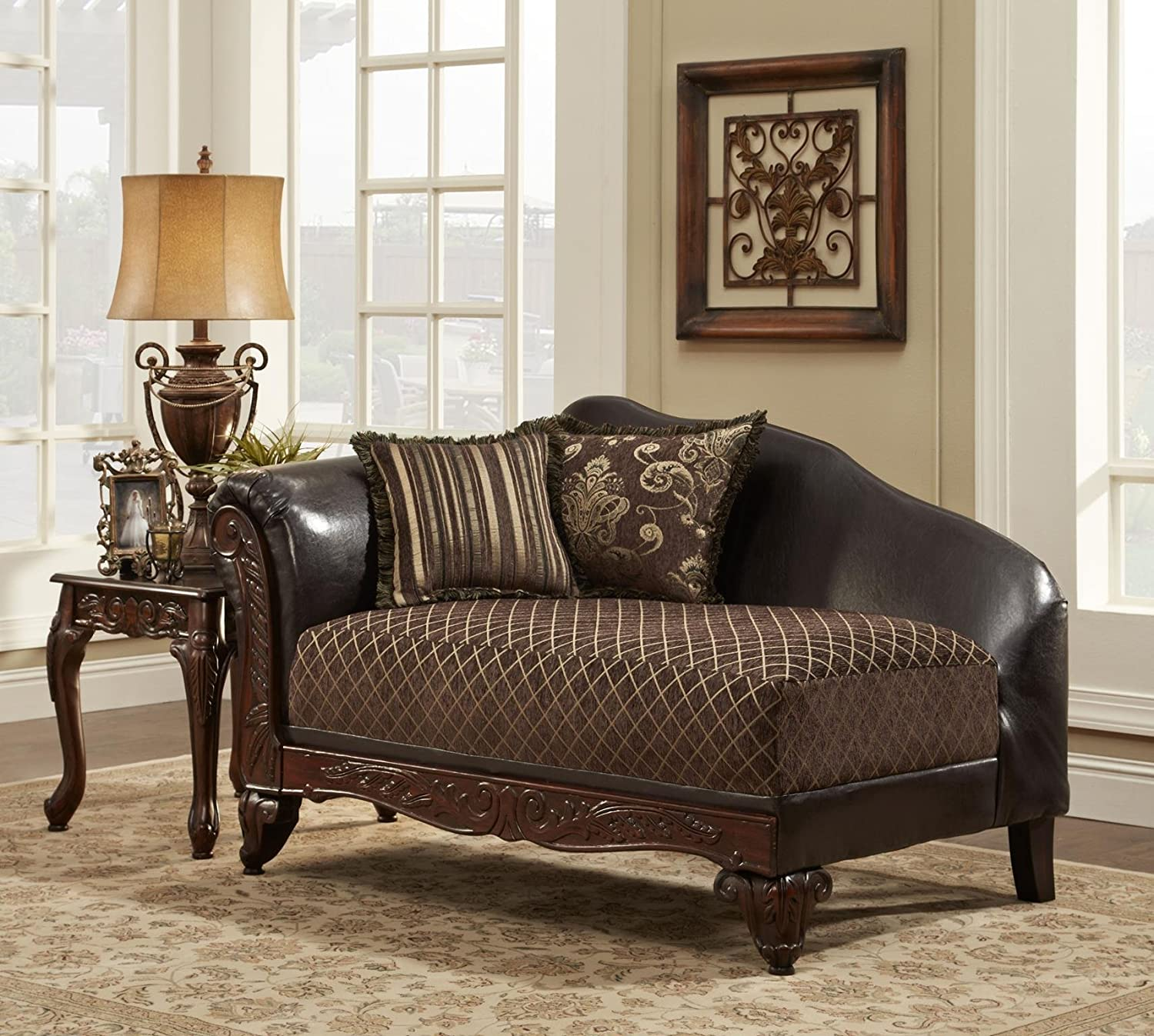 Amazon.com: Chelsea Home Furniture Amelia Chaise, Sienna Brown/Bi Cast  Brown: Kitchen U0026 Dining