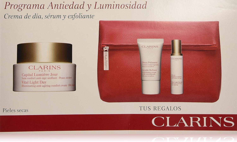 Clarins - Programa Antiedad y Luminosidad para pieles secas - Capital Lumiere crema de día + Serum Capital Lumiere antiedad y luminosidad + Crema exfoliante microgranulos - 1 pack: Amazon.es: Belleza